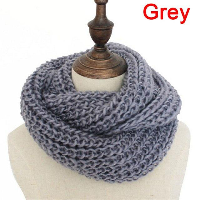Unisex Winter Knitted Scarves Collar Neck Warmer Woman'S Crochet Ring Loop Women Scarves Gifts Lady 9 Colors Gray #mensscarves