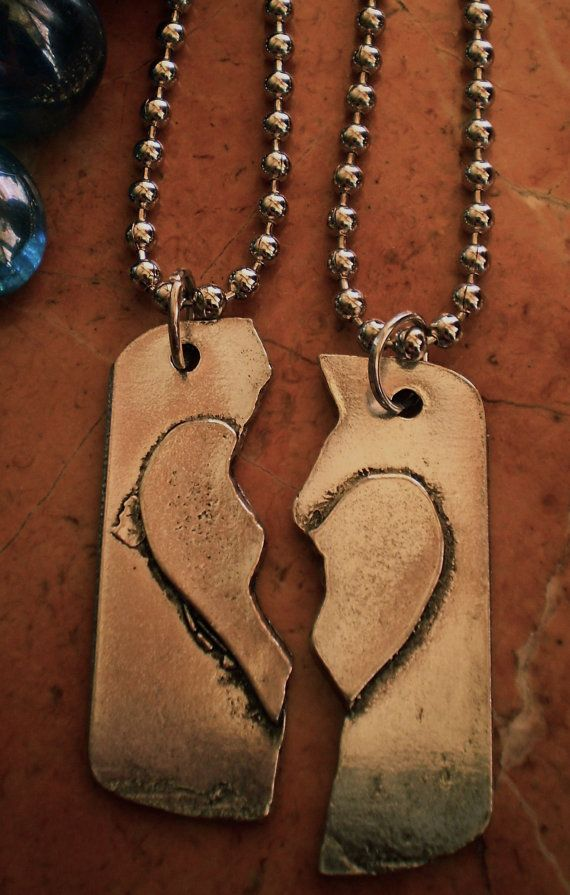 The half my heart is deployed 2 necklace set by shaunaprudhomme, $34.00
