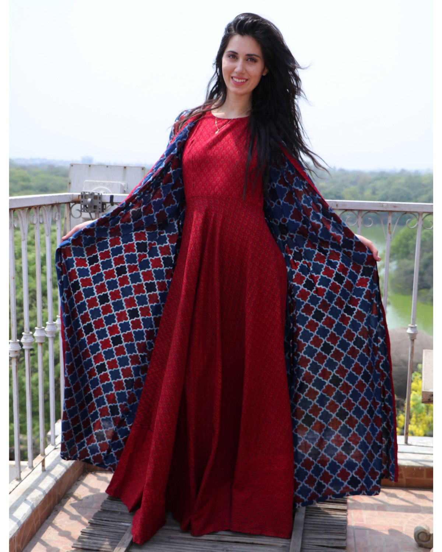 The secret label wine red cotton printed jacket style kurta