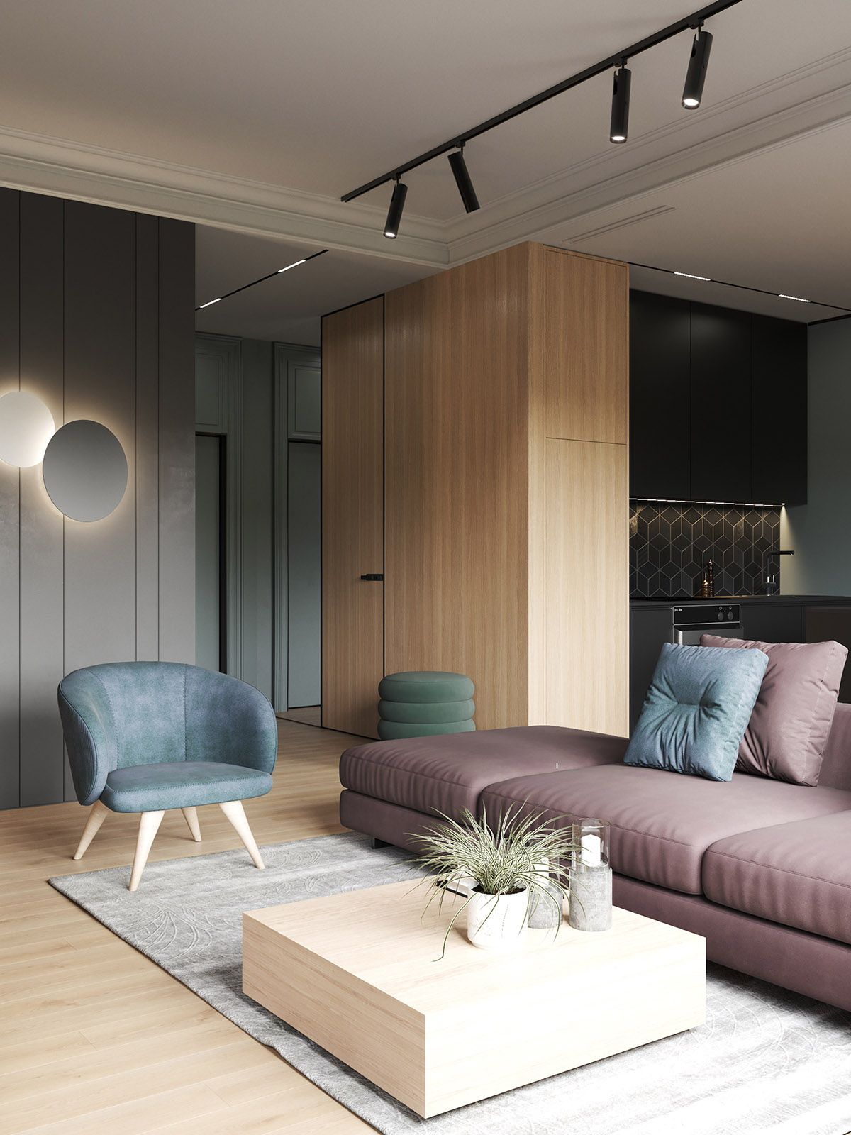 Interior Design Using Moody Colours And Natural Materials