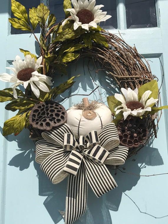 Photo of Pumpkin Sunflower wreath for front door, Sunflower Farmhouse wreath, Purple Sunflower fall wreath with  for front door, farmhouse wreath,