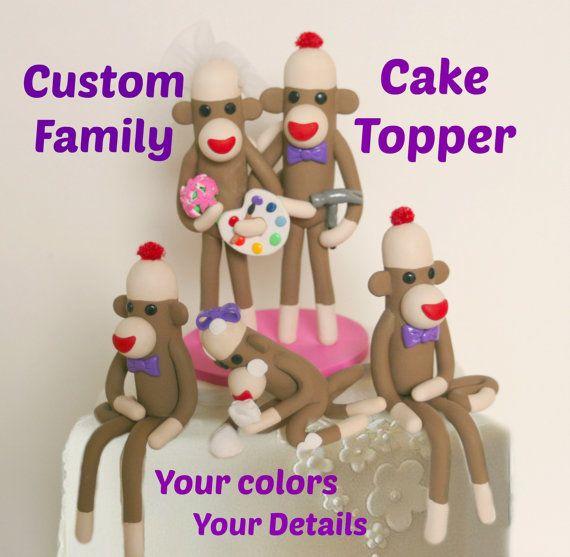 Sock Monkey Family Wedding Cake Topper Custom Made by SpiritMama