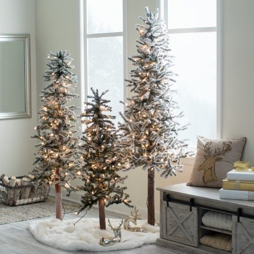 Gerson Company Flocked Alpine Natural Pre-Lit Christmas Tree Set
