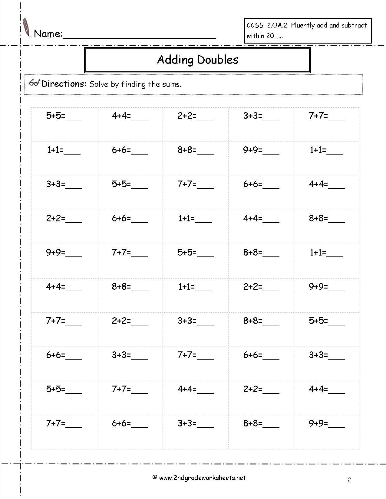 42 Math Worksheets Grade 2 In