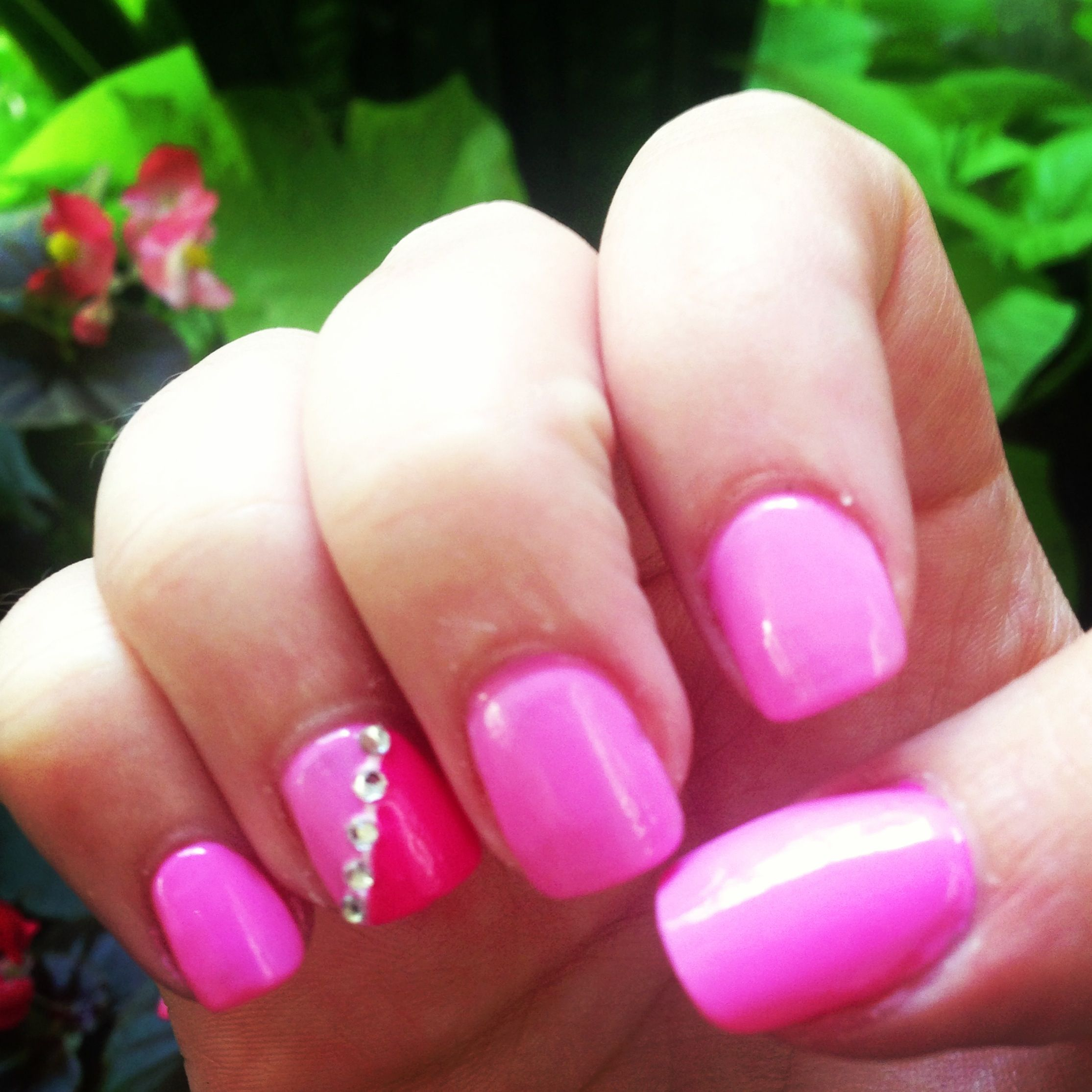 Mani with diamond design on ring finger. Baby pink/dark pink Essie ...