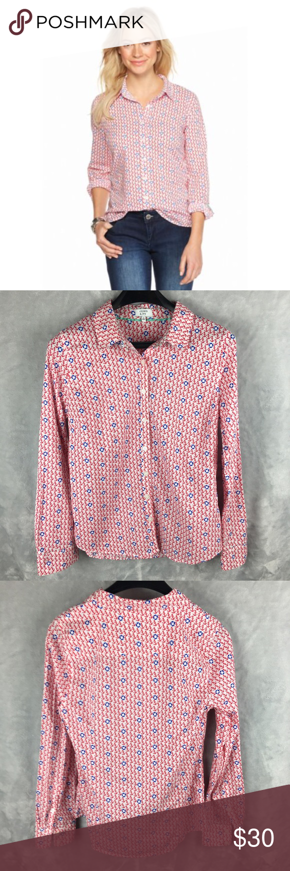 Pink dress shirt blue suit  CROWN u IVY Shirt Anchors Printed Button Front  Anchor print Crown