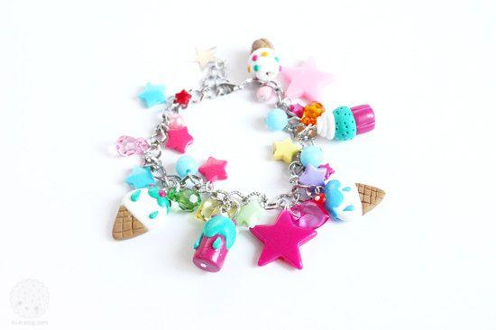 Icecream Love Charm Bracelet  Polymer Clay miniatures by kukishop, $26.00
