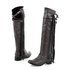 Shoespie Sexy Back Lace Up Buckle Decoration Knee High Boots