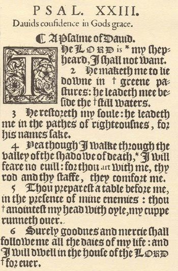 Close up, Psalm 23 from the King James Bible, First Edition
