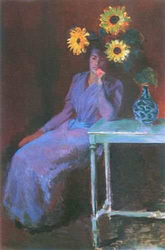 Portrait of Suzanne Hoschede with Sunflowers, 1890, by Claude Monet (French, 1840-1926)