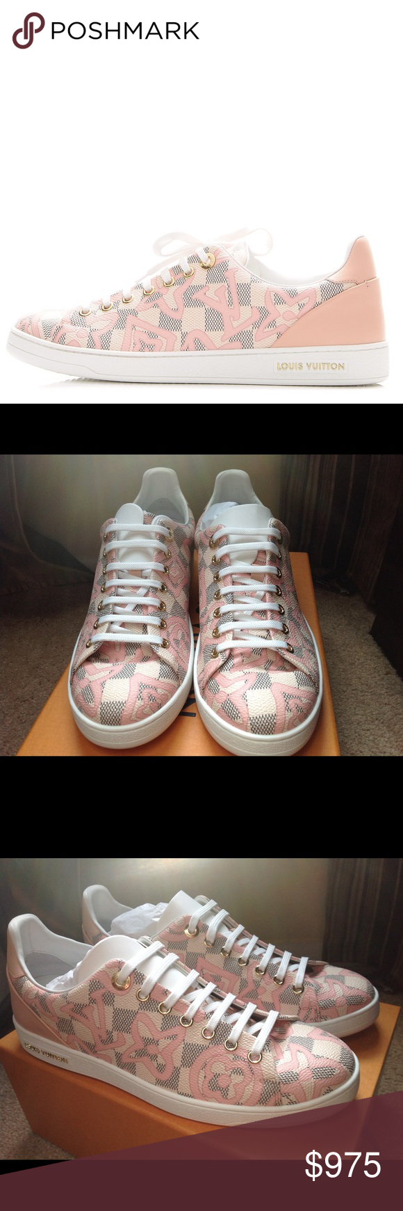 e255398d8b84 Damier Azur Tahitienne Bora Bora Sneakers Rose Ballerina. Limited Edition.  Sold out. Comes with
