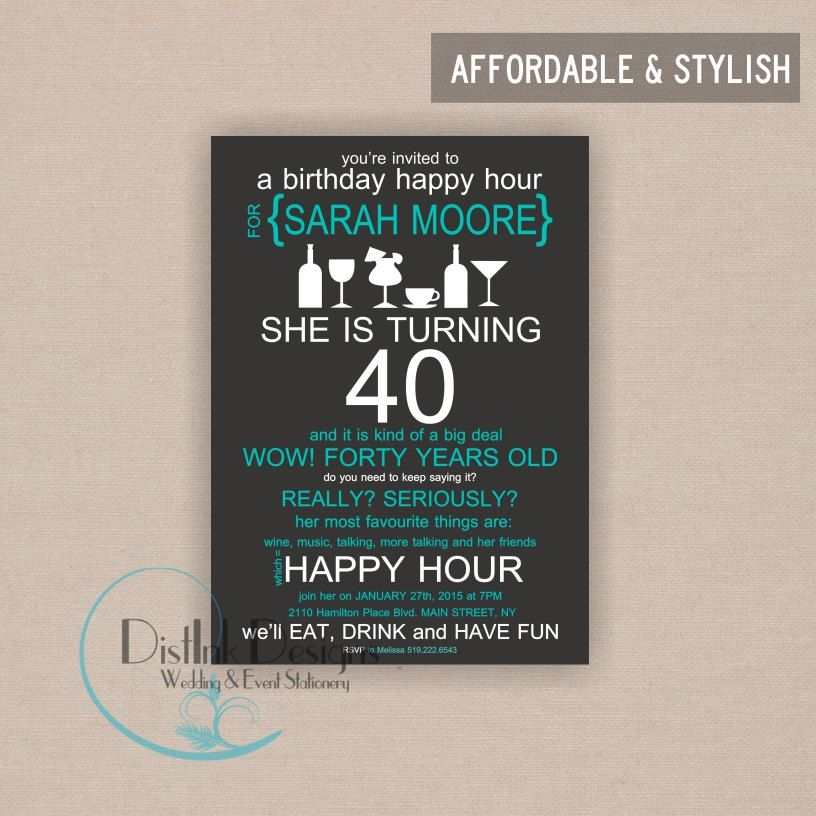 Happy Hour Birthday Party Invitation