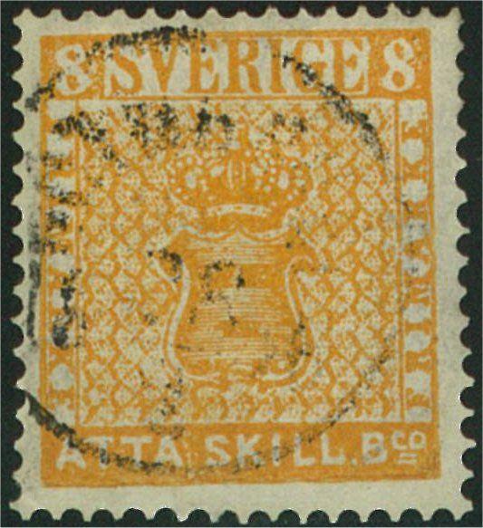 Sweden 8 Skilling Banco 1855 -  orange  (Facit-Nr 4a) Tunt papper Färgstyrka 4-8 Leverans 1, delleverans 1a Stämplade från 07.1855 Upplaga 192 800