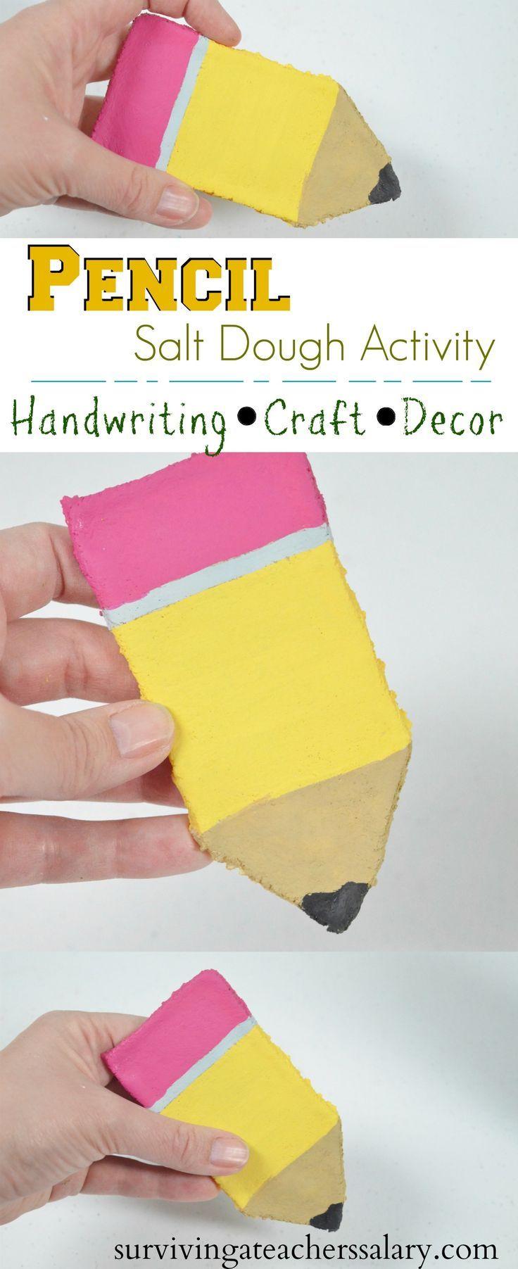 Lets Write Our Name Pencil Salt Dough Activity for Kindergarten Back to School craft Salt Dough R