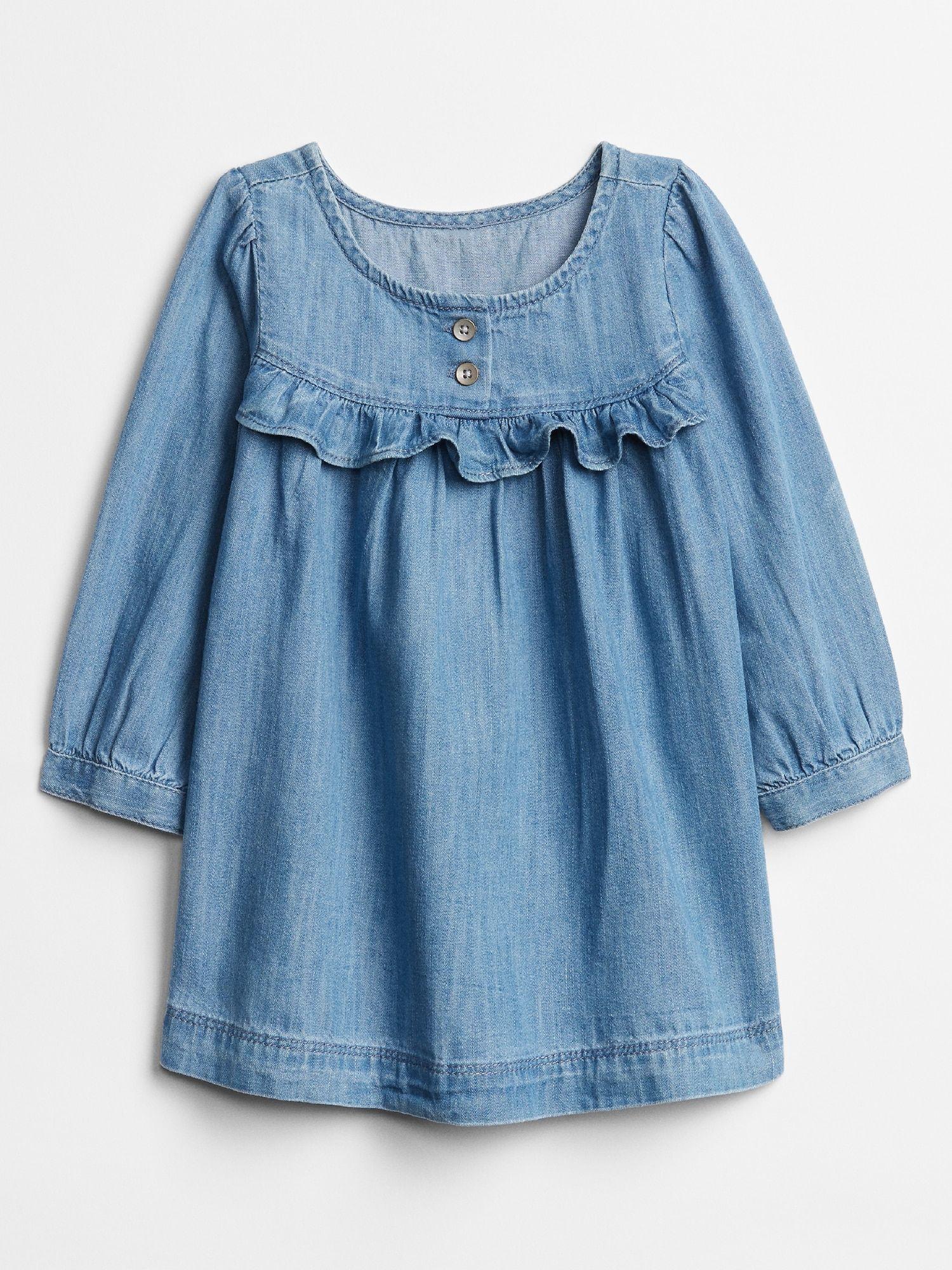 Baby Ruffle Denim Dress Gap Factory Denim Ruffle Dress Girl Outfits Clothes [ 2000 x 1500 Pixel ]