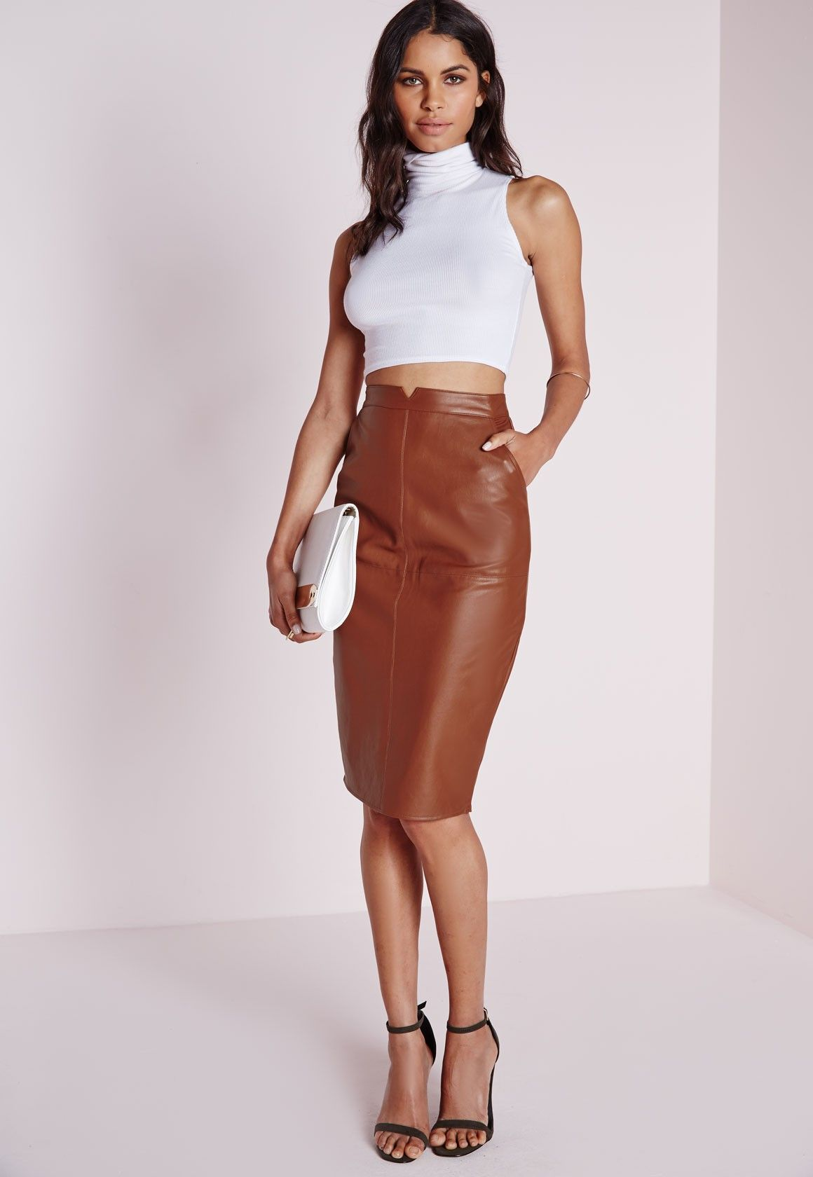 Missguided - Faux Leather Midi Skirt Tan | Wardrobe inspo ...