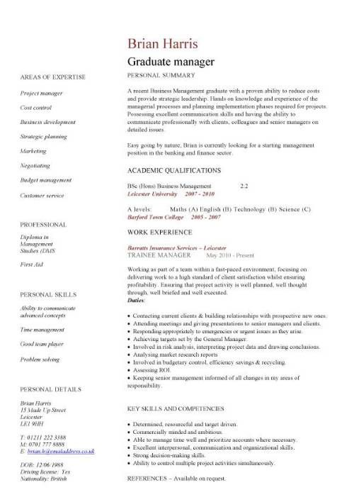 Student Cv Template No Experience brave100818