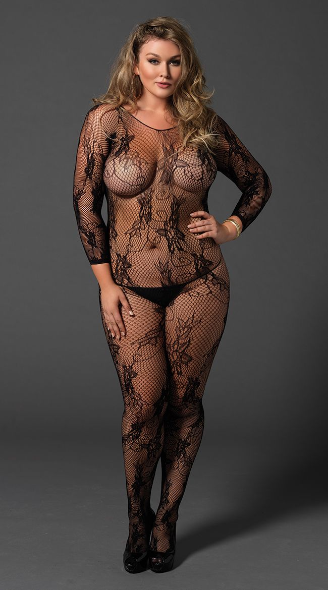 4b1d799854f Plus Size Seamless Fishnet and Lace Bodystocking
