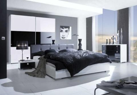black and white interior design bedroom - Black And White Bedroom Interior