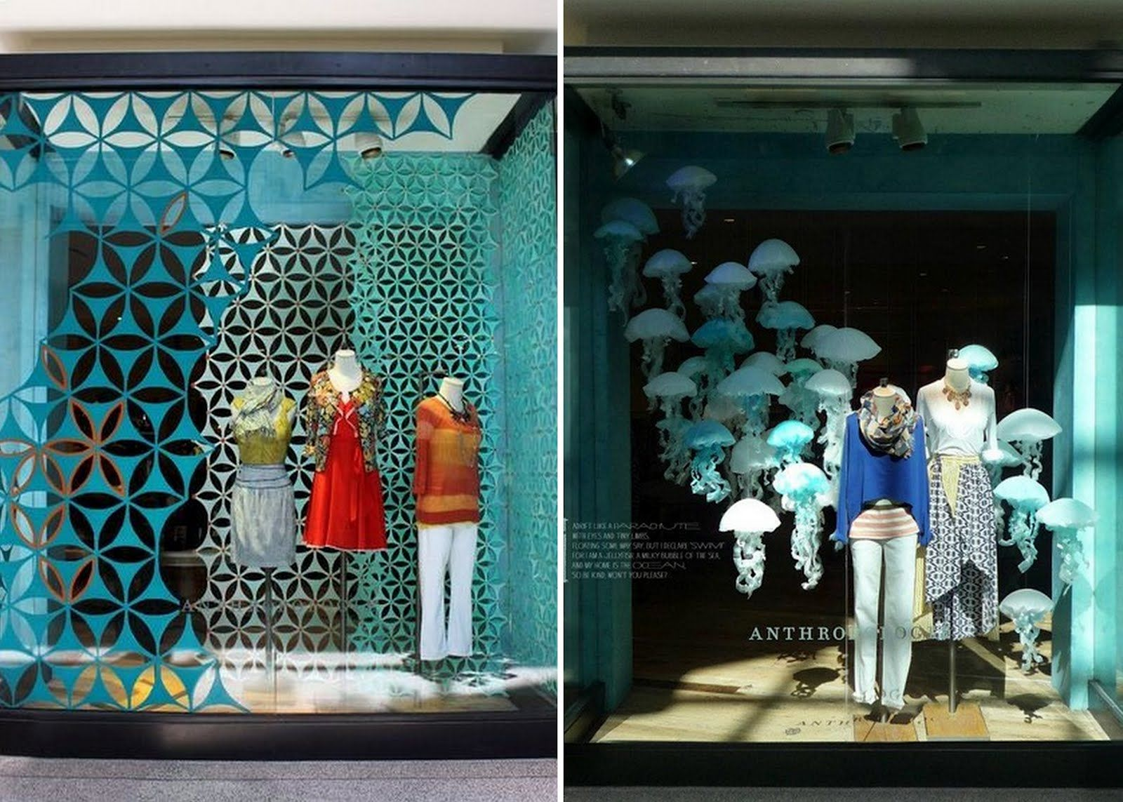 Visual merchandising and widow display with paper cutouts for Show window designs