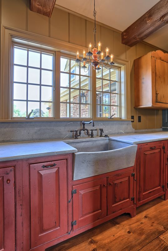 Classic Colonial Homes Interior Farmhouse Sink Red Kitchen Cabinets Primitive Kitchen Cabinets Kitchen Color Red