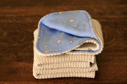 Tutorial: Baby washcloths from old cotton sweaters