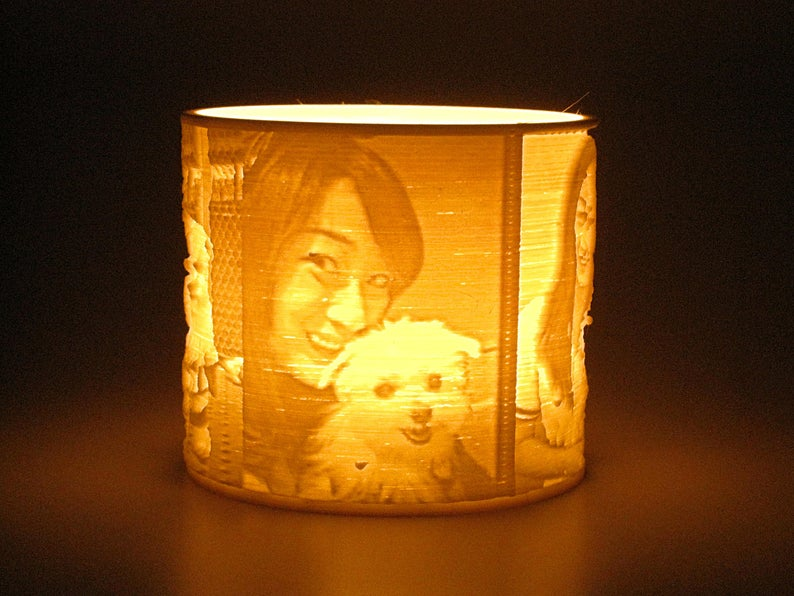 Custom Pet Photo Candle Led Tealight Holder Lithophane Lamp Night Light Flameless Candle 3d Printed Personalized Pet Owner Lover Gifts Photo Candles Tea Lights Candle Shapes