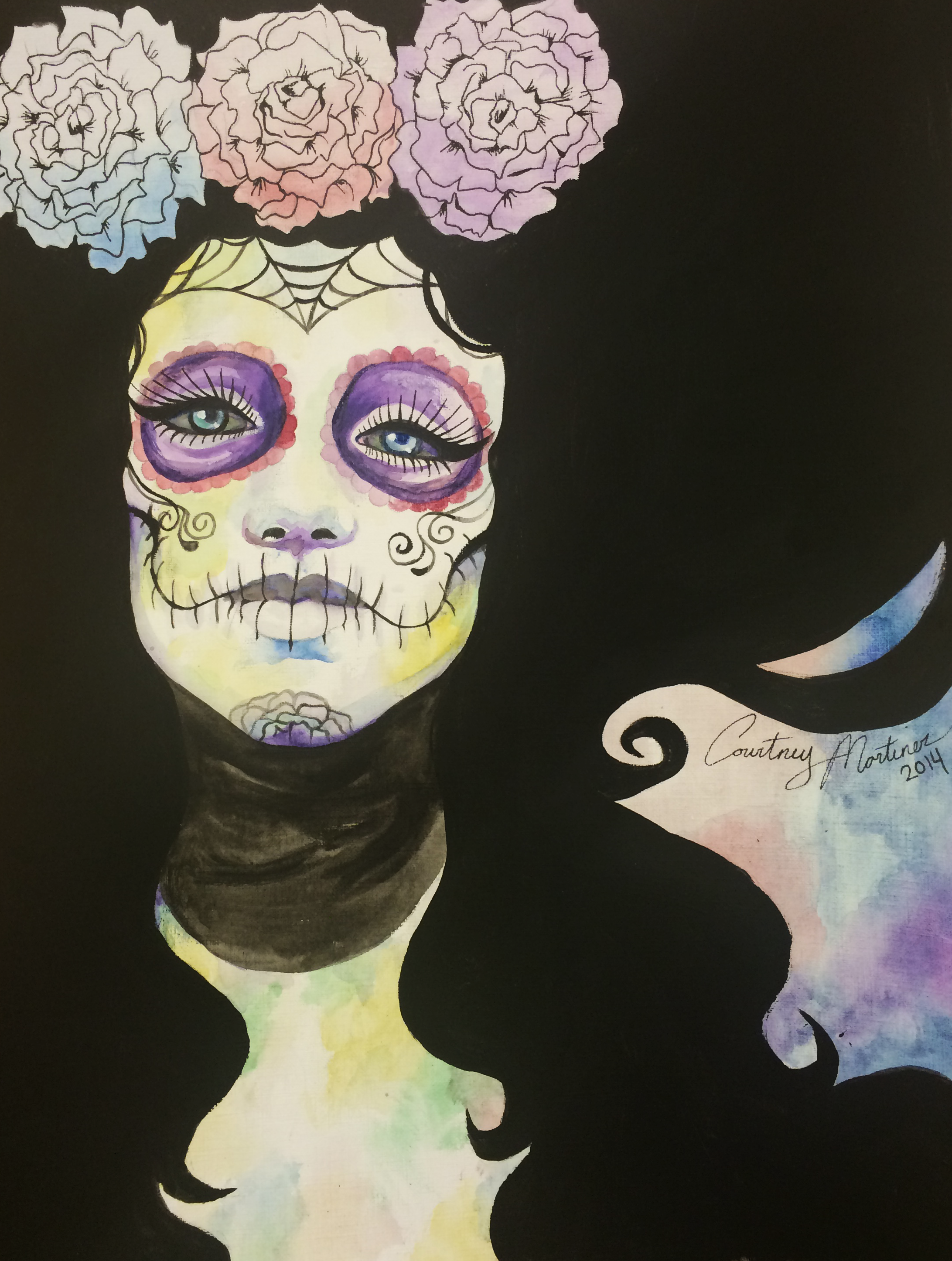 Day of the Dead Lady, Art by me Courtney Martinez in watercolor and acrylic.