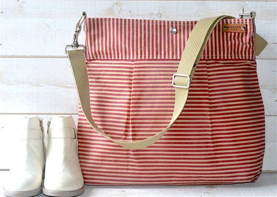 Waxed canvas bag Diaper bag / Messenger bag Striped bag Pink Stockholm geometric…