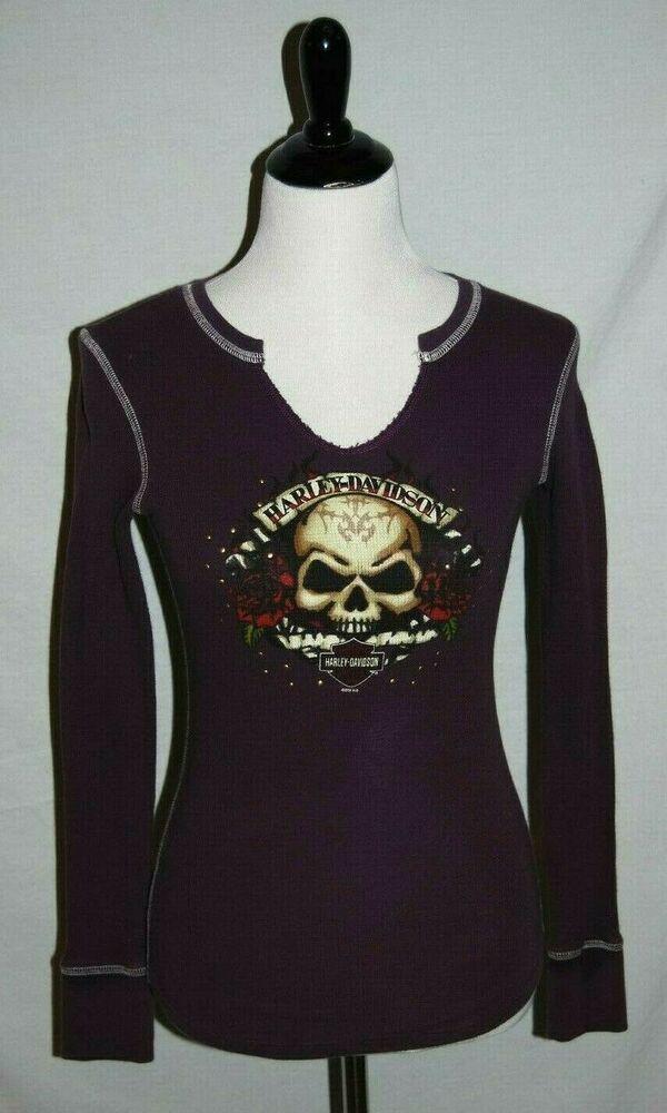 7c53d5750065 Harley Davidson Purple V Neck L/S Thermal Type Top Shirt Womens Small San  Juan #HarleyDavidson #pullovertop #Casual