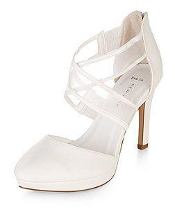 Wide Fit White Bridal Mesh Cross Strap Platform Heels New Look