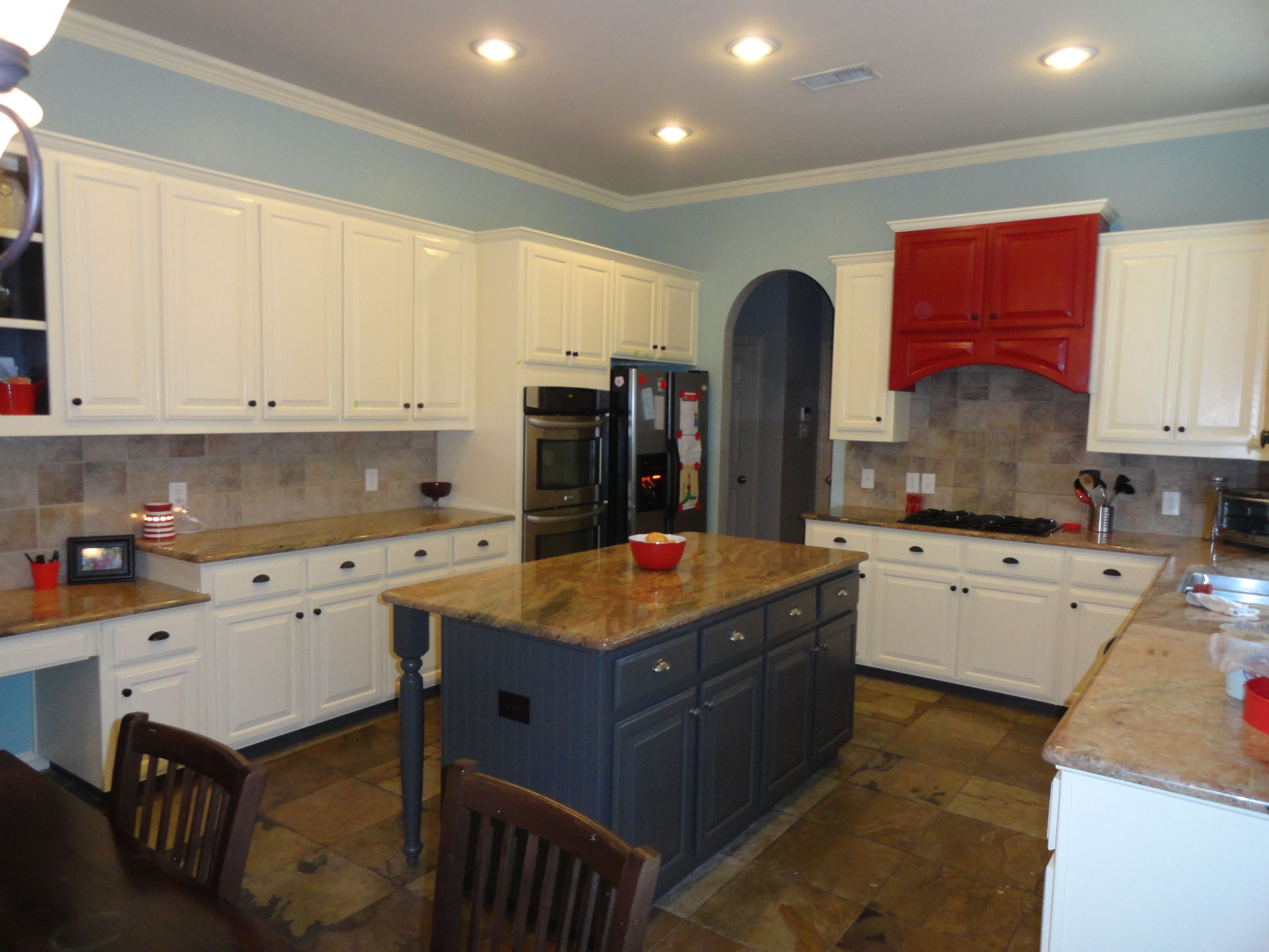 My Kitchen Makover Dull Wooden Cabinets Brown Walls With Drab Granite Turned To White Cabinets Blue Grey Walls Blue Grey Walls Brown Walls Wooden Cabinets