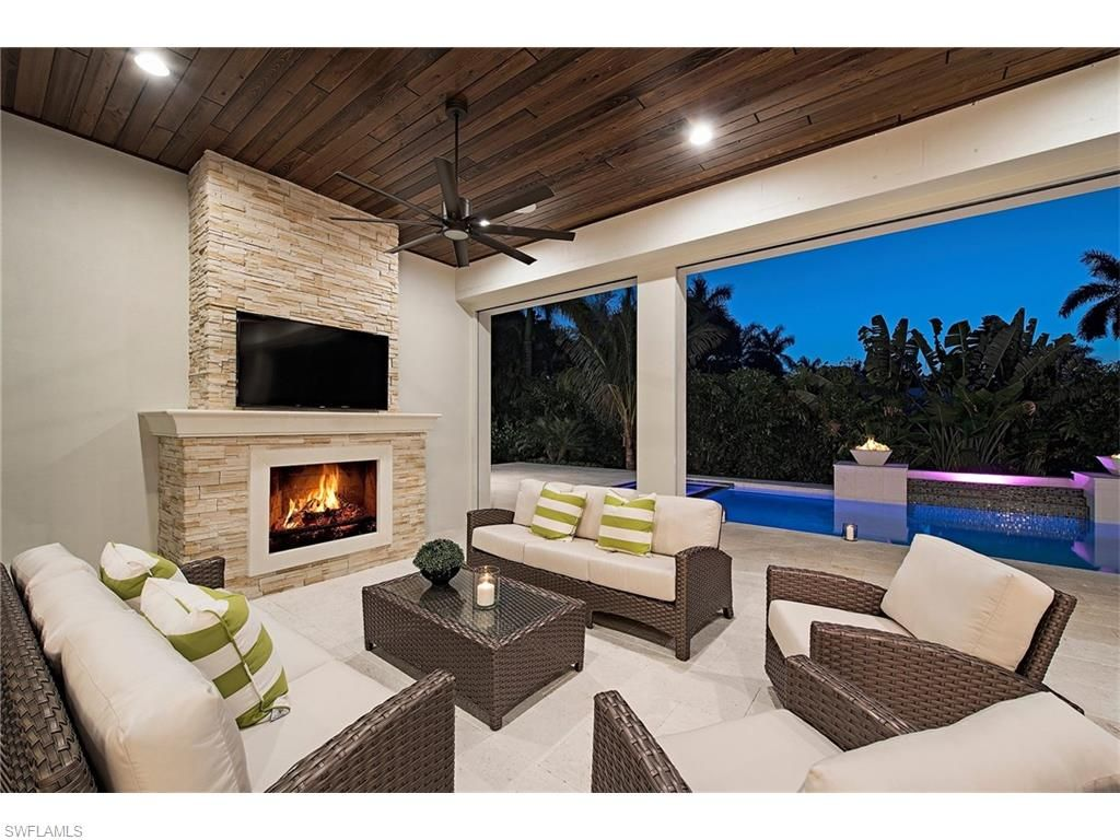 Modern Homes Over 3 mil in Naples Outdoor fireplace