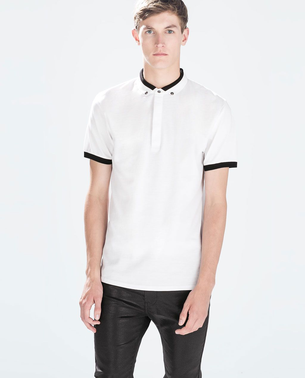 8c881cf3 ZARA WHITE TWO-COLOUR COLLAR POLO SHIRT £22.99 (0458/300) | Men's ...
