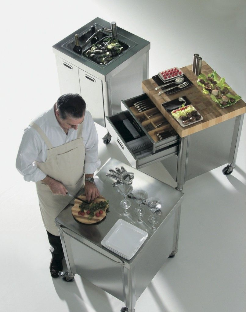 KITCHEN CARTS 70 - Kitchen top – AISI 304-19/10 stainless steel with silver satin finish and Solid birch wood 8 cm high. The carts have anti-slip wheels with locking system