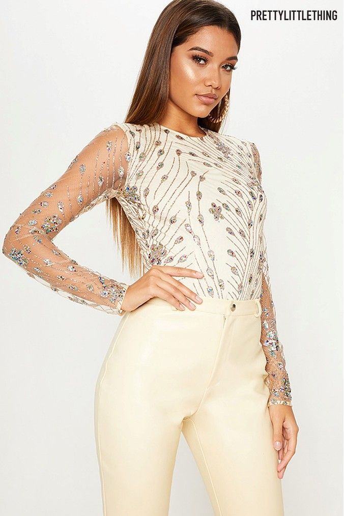 d6afdc8395 Womens PrettyLittleThing Embellished Long Sleeve Bodysuit - Nude ...