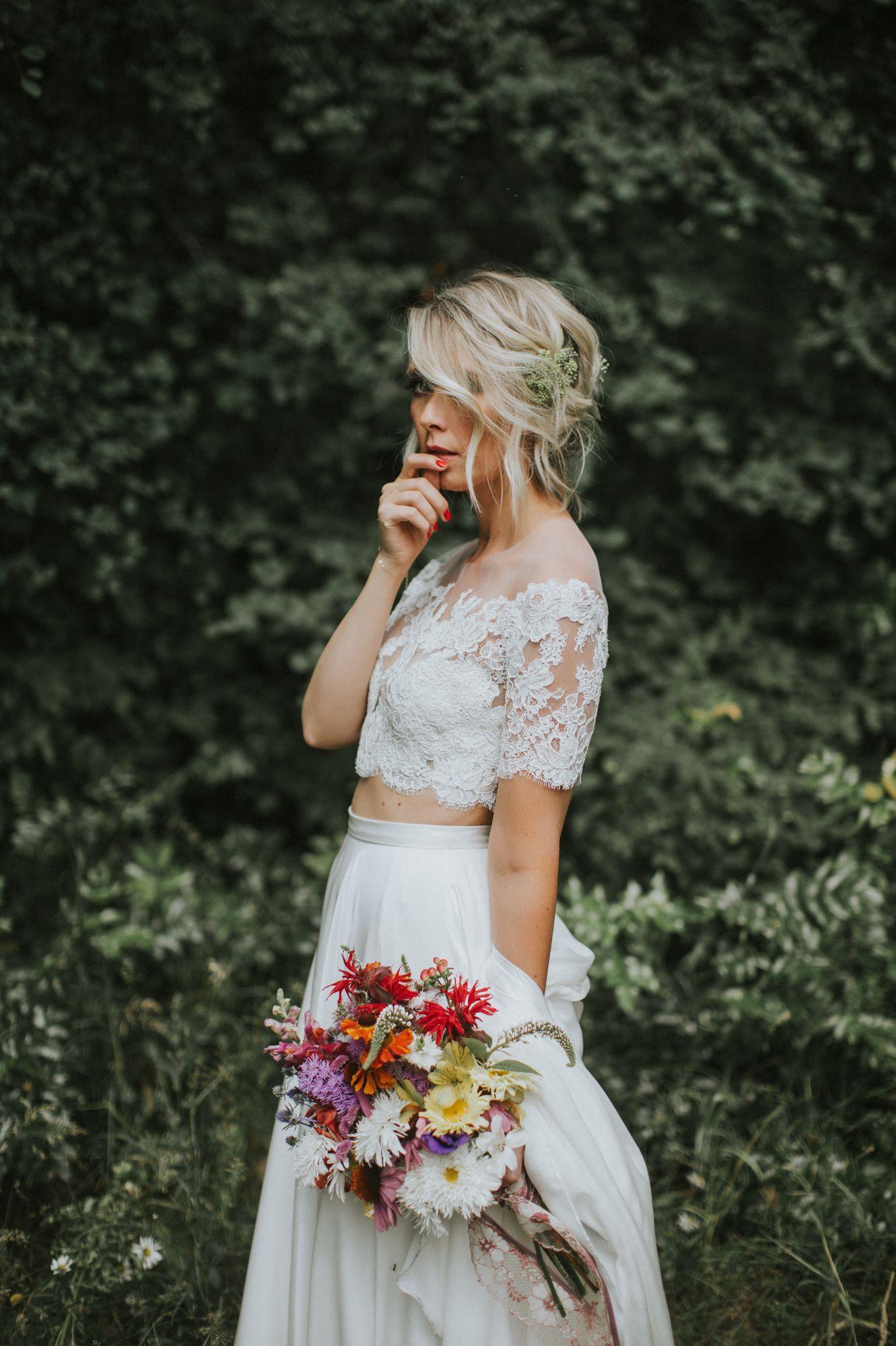 Kelowna Wedding At Gatzke Orchard Stacie Mark Sheer Wedding Dress Two Piece Wedding Dress Illusion Wedding Dress
