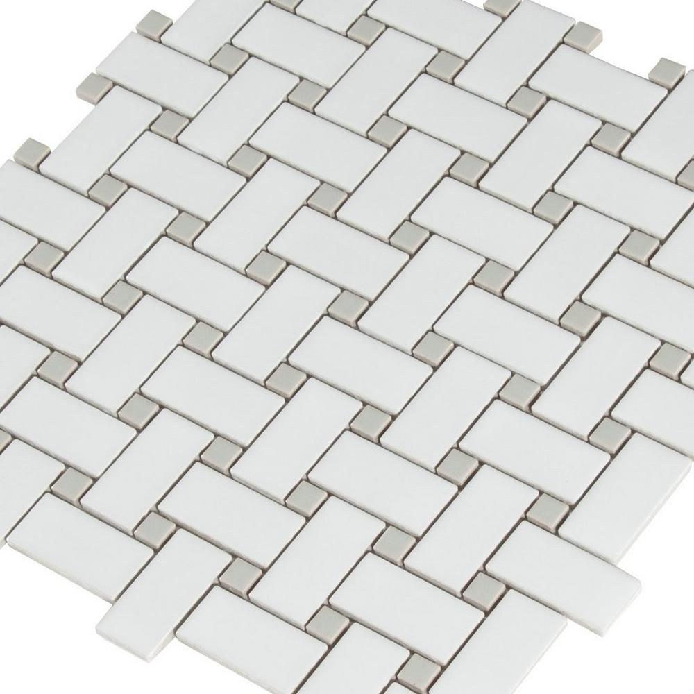 Matte Gray Dot Basketweave Porcelain