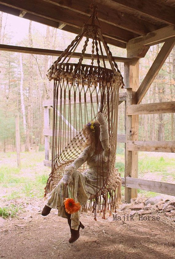 Charming Vintage Style Handmade Macrame Hanging Chair Bohemian Hippie Fairy Chair  Majik Horse Made To Order