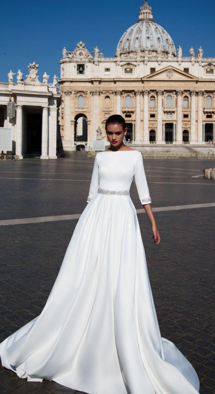 d4fbc68b35c3 2018 White Wedding Dresses with Half Sleeve Elegant Boat Neck A line Bridal  Wedding Gowns Backless #2018 #weddings #2018wedding #weddingdress  #bridalgown ...