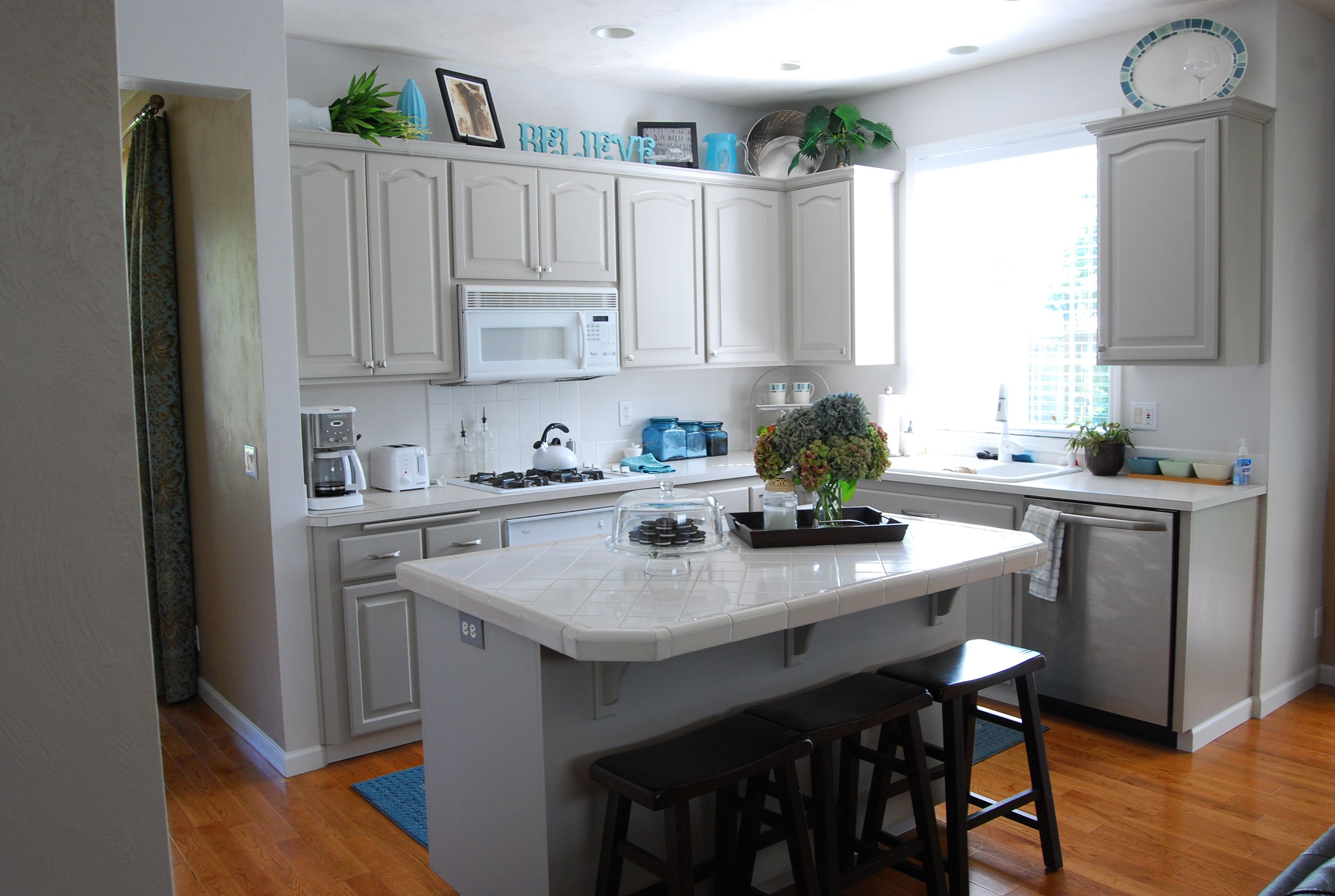 Grey Cupboards Kitchen View In Gallery With Gray Cabinets And Yellow Backsplash Design Chr