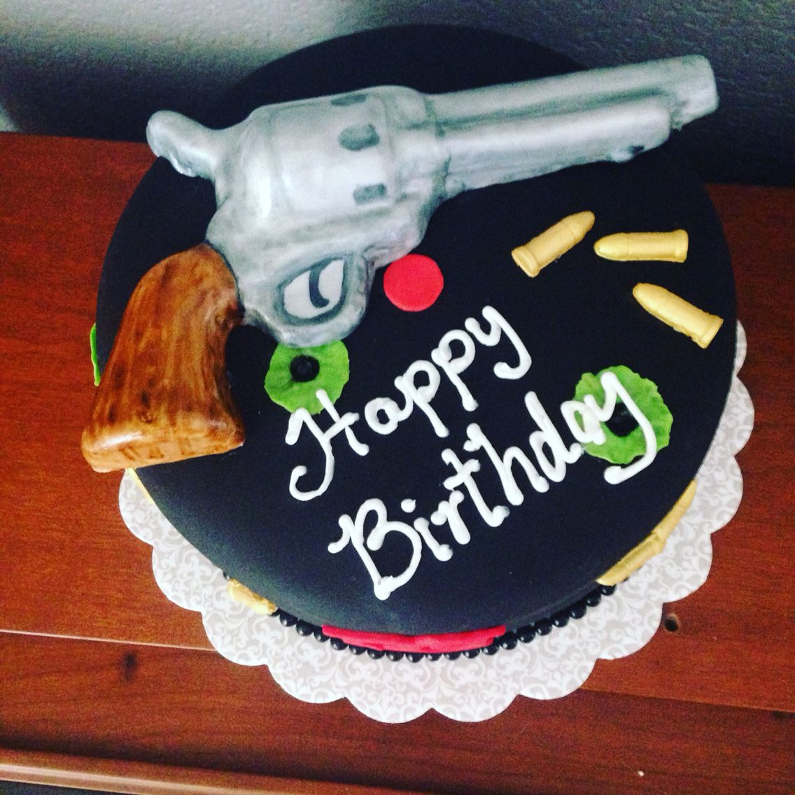 50th Male birthday cake chocolate revolver wrapped in fondant so I ...