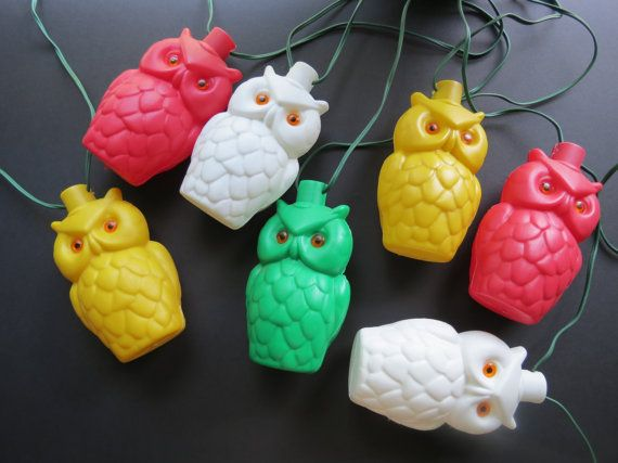 Attractive Vintage Owl Patio Lights // Blow Mold Retro Plastic String Strand Lights  1960u0027s Kitschy Red Green Yellow White Kitschy Christmas Lights