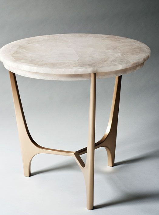 ATHENA SIDE TABLE 711mm (Dia) X 680mm (H)Rock Crystal Top Resting