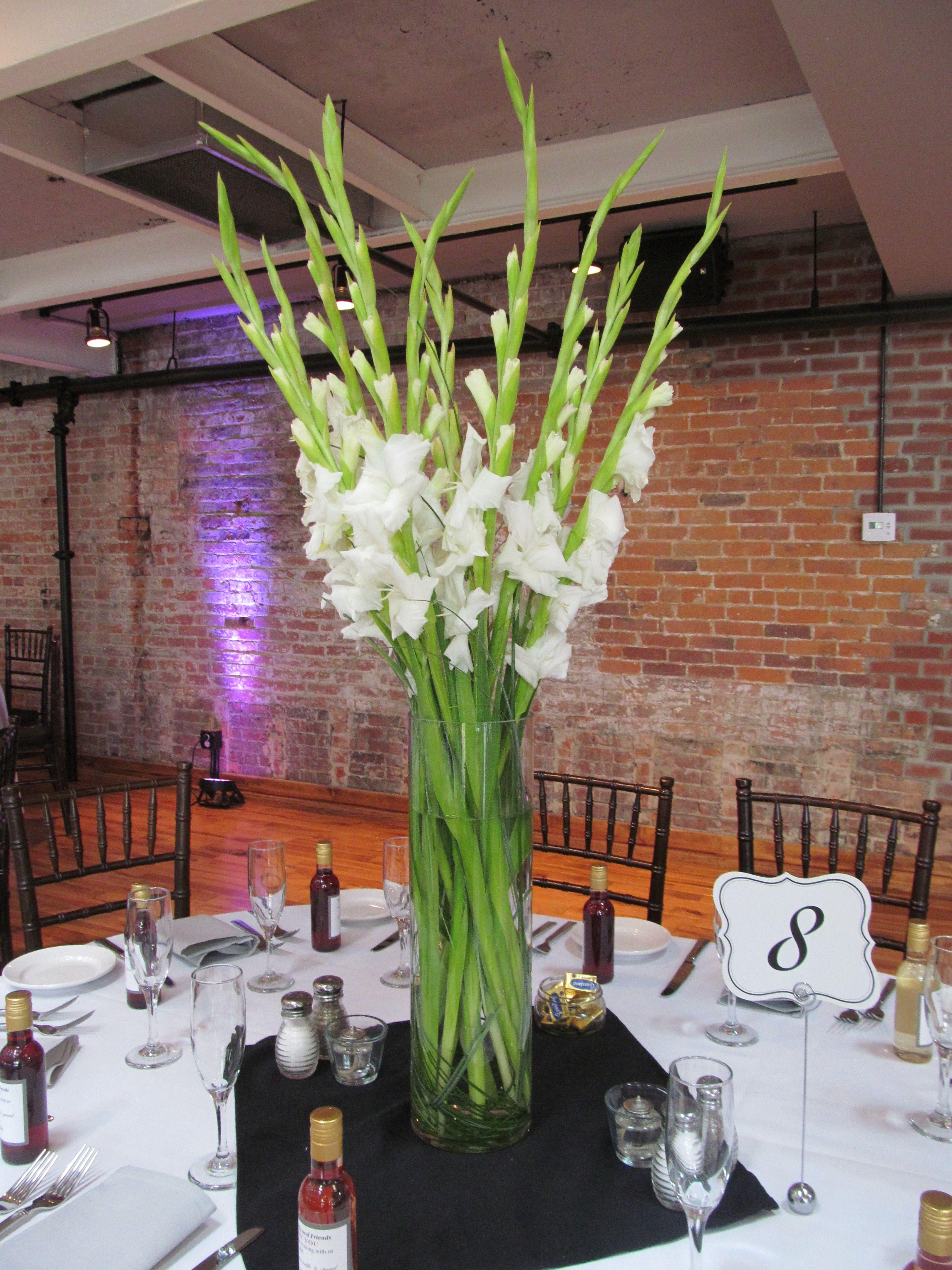White gladioli wedding centrepiece Wedding Pinterest