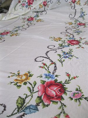 Huge Antique Hand Embroidered Tablecloth