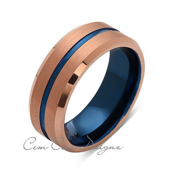 8mm Brushed Rose Gold And Blue Tungsten Ring Mens Wedding Band Blue Mens Ring Rings Mens Wedding Bands Rings For Men Blue Tungsten Ring