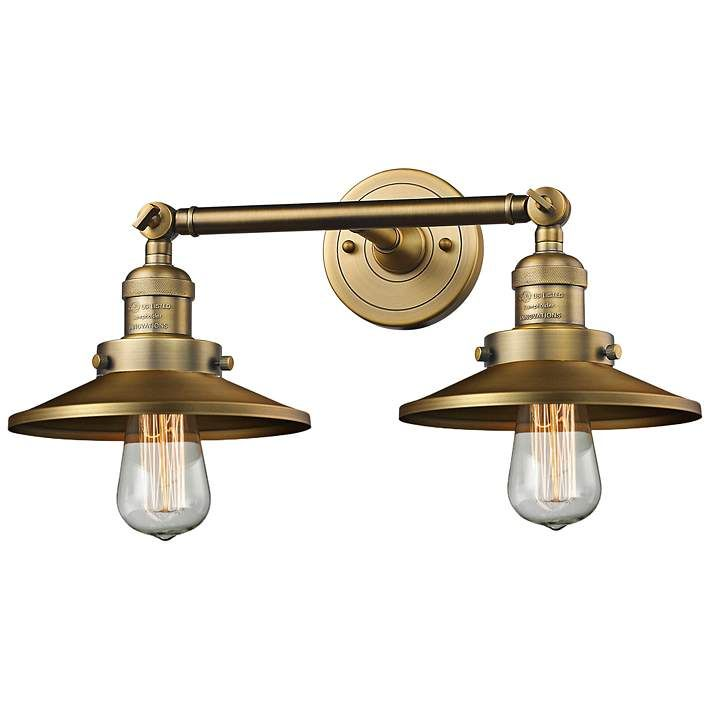 "Photo of Railroad 8 ""H brushed brass 2-light adjustable wall lamp – # 40X53 