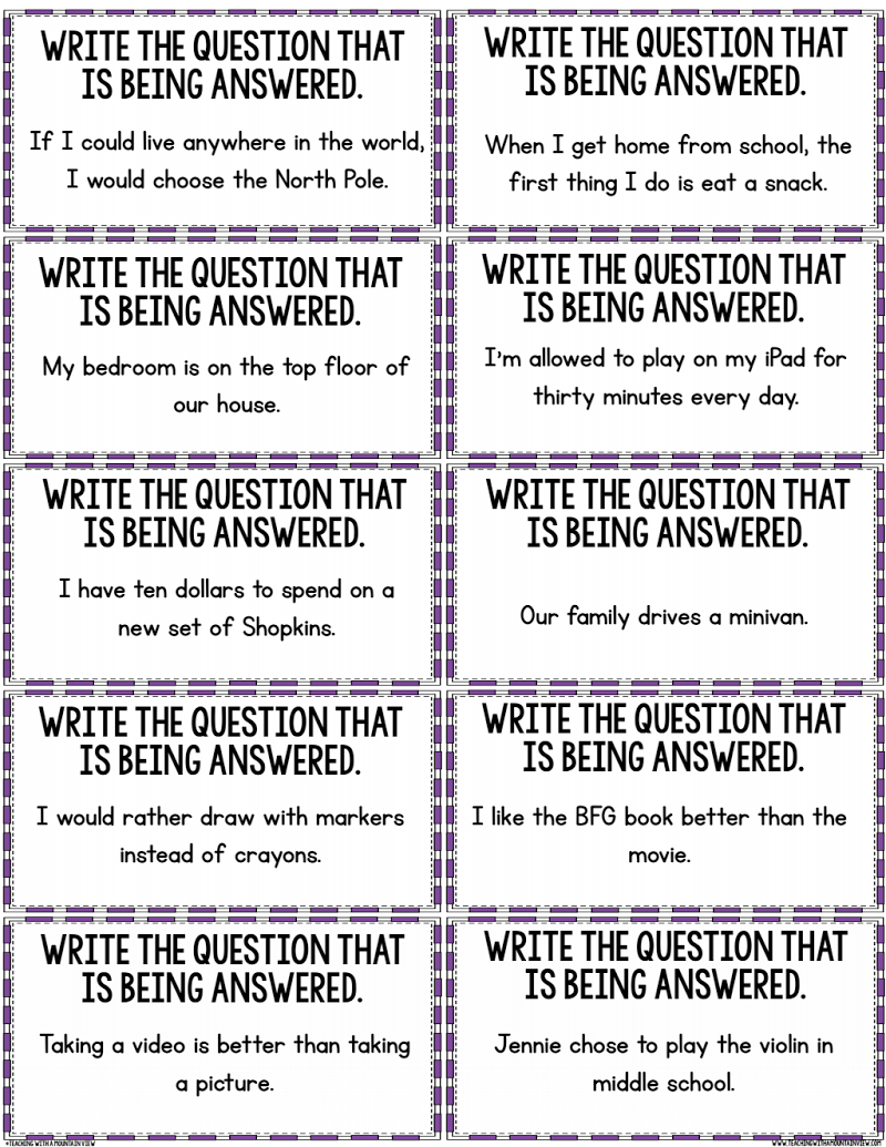 Restating the Question Activity.pdf   Teaching reading skills [ 1035 x 800 Pixel ]