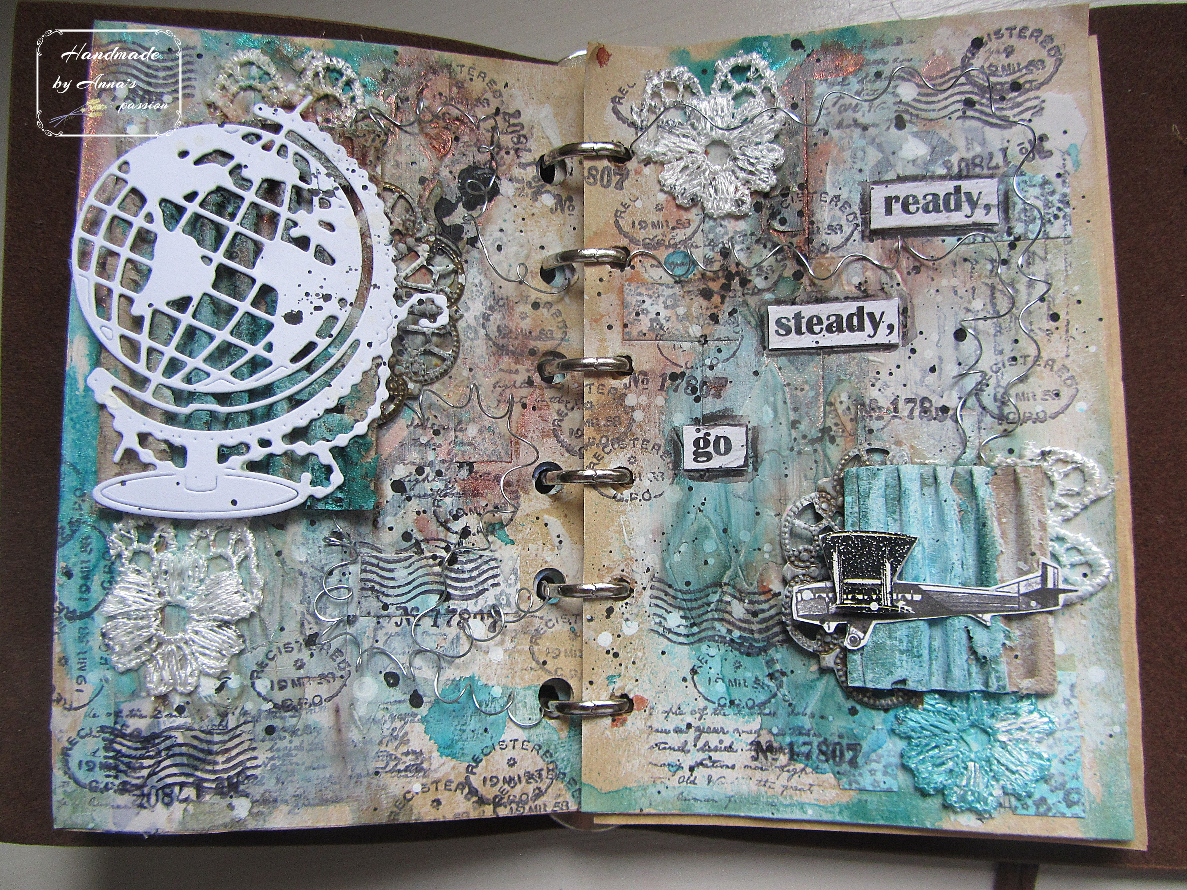 Ready , steady , go ...Art Journal page  Inspiration with using wires from #agabaraniak #mixedmedia #mixedmediaart #artjournalpage #washitape #paperstrips #gesso #texturepaste #stencil #thecrafterworkshop #tcwstencil #tcwstencillove #lindys #lindysstampgang #lindyssprays #lace #cardboard #metalembellishments #floralrwire #7dotsstudio #sticker #travelstamps #clearstamps #ranger #archivalink #diecutglobe #plane #planesticker #whiteacrylicpaint #blackacrylicpaint #splashes #tackyglue #inktensepenci